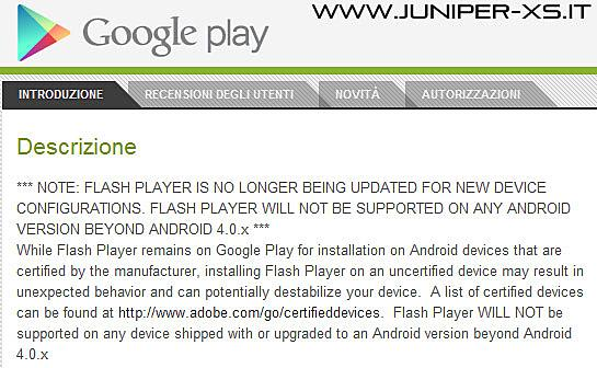 La schermata di Google Play di Adobe Flash Player